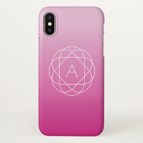 Flower-Like Geometric Monogram | Pink Shaded Ombre Phone Case