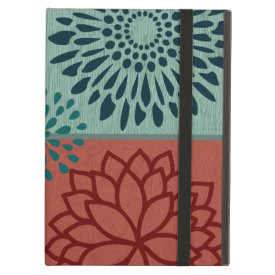 Flower Line Art Red Blue Color Blocks Pattern iPad Covers