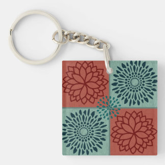 Flower Line Art Red Blue Color Blocks Pattern Keychain