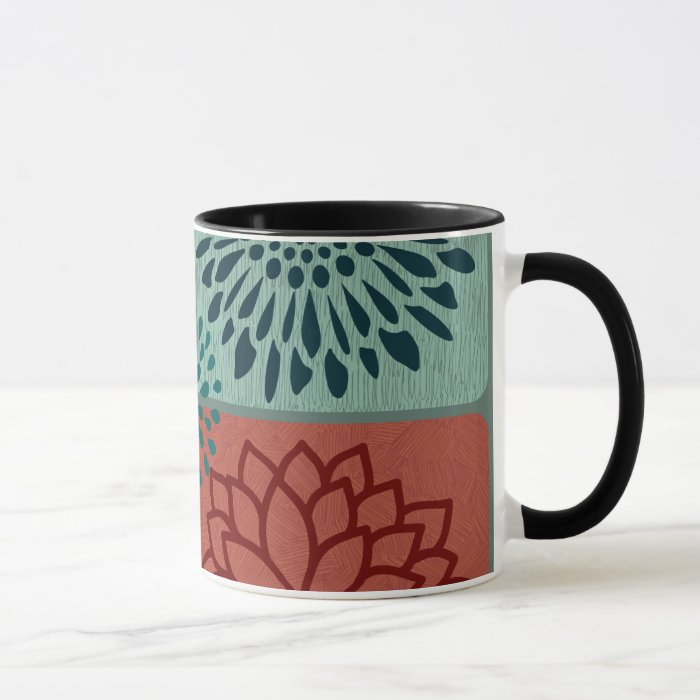 Flower Line Art Red Blue Color Blocks Pattern Mug