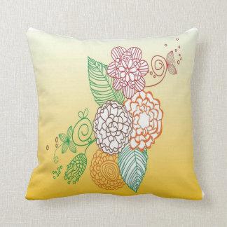 Flower Lines Throw Pillow