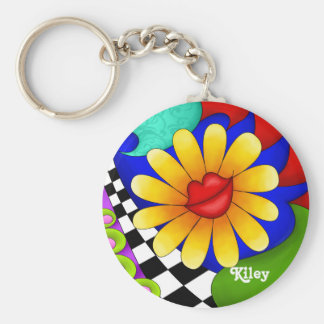 Flower Lips with Background Key Chain
