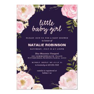 "flower little baby girl baby shower invitations 5"" x 7"" invitation card"