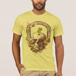 Flower Litttle Girl on Skulls Head (Tee) T-Shirts