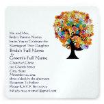 Flower Love Tree Wedding Invitation Navy Font