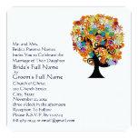 "Flower Love Tree Wedding Invitation Navy Font 5.25"" Square Invitation Card"