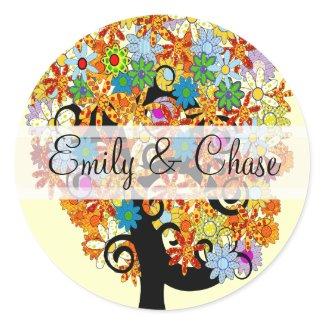 Flower Love Tree Wedding Stickers sticker