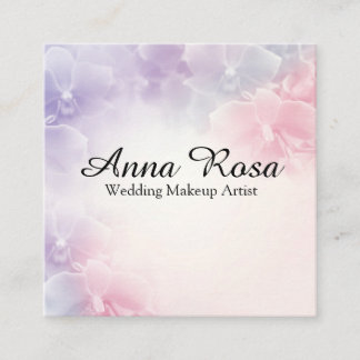 *~* Flower Macro Photo Elegant Pink Lavender Square Business Card