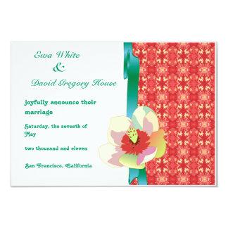 Flower Magnolia Pattern Decor RSVP Custom Invitati 3.5x5 Paper Invitation Card