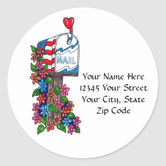 Flower Mailbox: Address Labels Stickers
