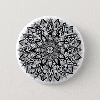 Flower Mandala black and white Button