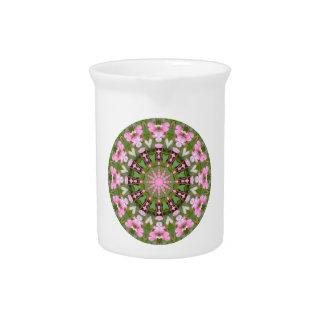 Flower Mandala, Bleeding Hearts 02.0_rd Beverage Pitcher