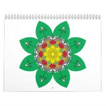 Flower Mandala green Vintage decorative elements. Calendar