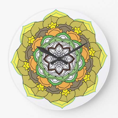 Flower Mandala in turquoise colors Large Clock