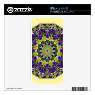 Flower Mandala, Pansies yellow, violett Decals For The iPhone 4