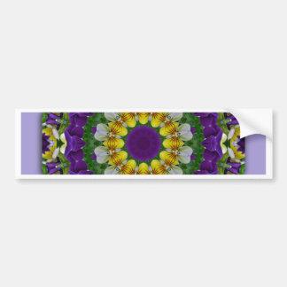 Flower-Mandala, pansy Bumper Sticker