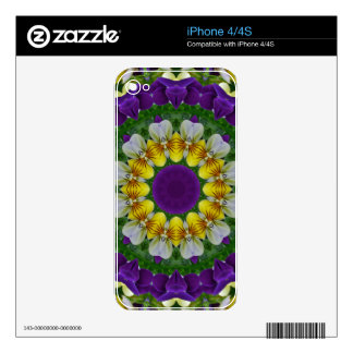 Flower Mandala, Pansy Decals For iPhone 4S