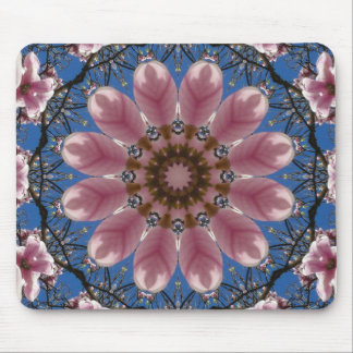 Flower Mandala, pink spring blossoms Mouse Pad