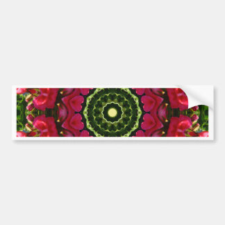 Flower Mandala, Red blossoms with hearts Bumper Sticker