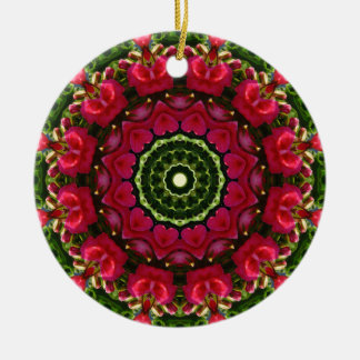 Flower Mandala, Red blossoms with hearts Ceramic Ornament