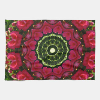 Flower Mandala, Red blossoms with hearts Hand Towel