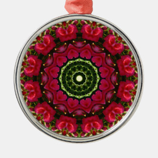 Flower Mandala, Red blossoms with hearts Metal Ornament