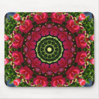 Flower Mandala, Red blossoms with hearts Mouse Pad