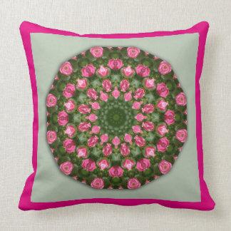 Flower Mandala, Rosa Roses Throw Pillow