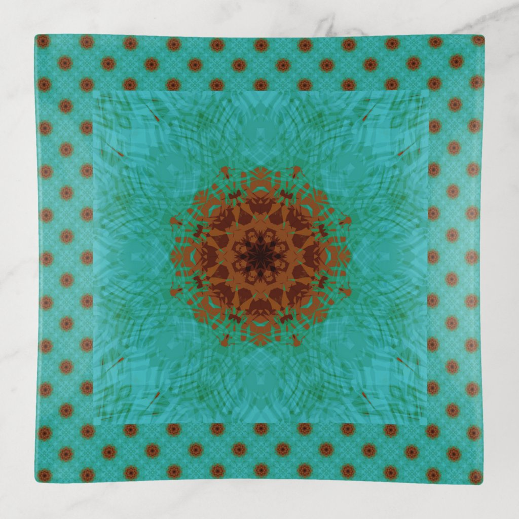 Flower Mandala Turquoise and Copper Brown Tile Trinket Trays