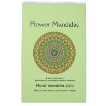 Flower Mandalas for a whole year Calendar
