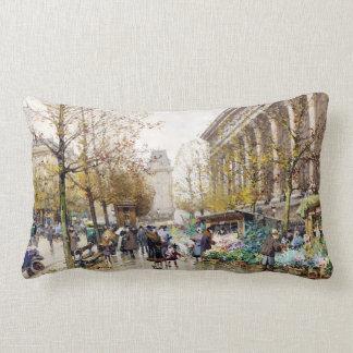 Flower Market at the Madeleine, Paris Lumbar Pillow