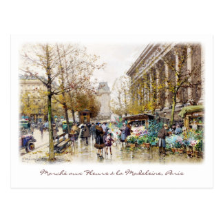 Flower Market at the Madeleine, Paris Postcard