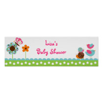 Flower Meadow Bird Butterfly Banner Sign Poster