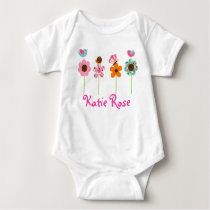 Flower Meadow Girls Baby Birthday T-Shirt