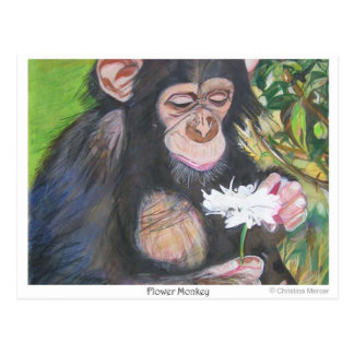 Flower monkey postcard