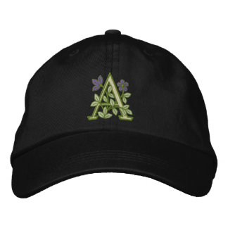 Flower Monogram Initial A Embroidered Baseball Hat