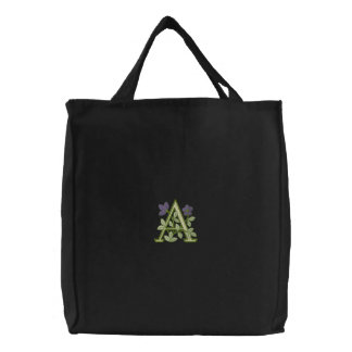 Flower Monogram Initial A Embroidered Tote Bag
