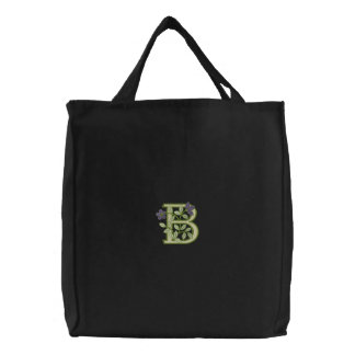 Flower Monogram Initial B Embroidered Tote Bag