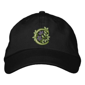 Flower Monogram Initial C Baseball Cap