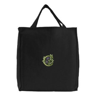 Flower Monogram Initial C Embroidered Tote Bag
