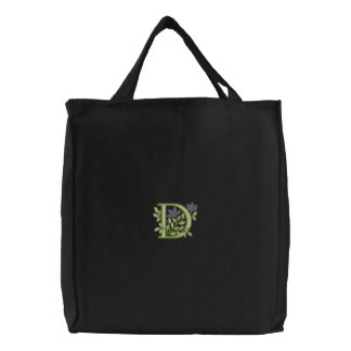 Flower Monogram Initial D Embroidered Tote Bag