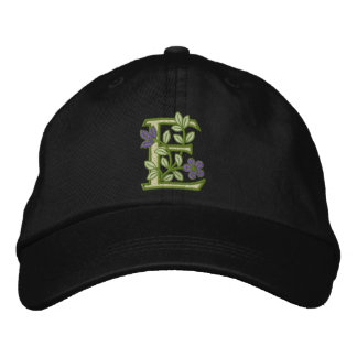 Flower Monogram Initial E Embroidered Baseball Caps