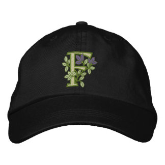 Flower Monogram Initial F Embroidered Baseball Cap