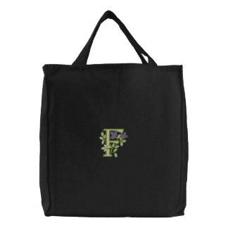 Flower Monogram Initial F Embroidered Tote Bag