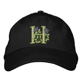 Flower Monogram Initial H Embroidered Baseball Hat