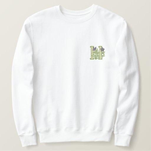 Flower Monogram Initial H Embroidered Sweatshirt