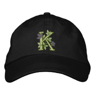 Flower Monogram Initial K Embroidered Baseball Cap