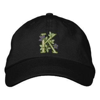 Flower Monogram Initial K Embroidered Baseball Hat