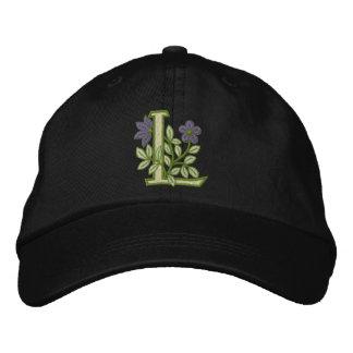 Flower Monogram Initial L Baseball Cap