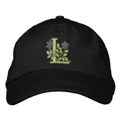 Flower Monogram Initial L Embroidered Baseball Cap
